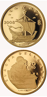20 euro Europe of the Arts - Jan Vermeers - the Netherlands - 2008 - Series: Gold 20 euro coins - Italy