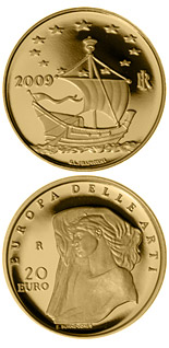 Image of 20 euro coin – Europe of the Arts - Edward Burne-Jones - Great Britain | Italy 2009.  The Gold coin is of Proof quality.