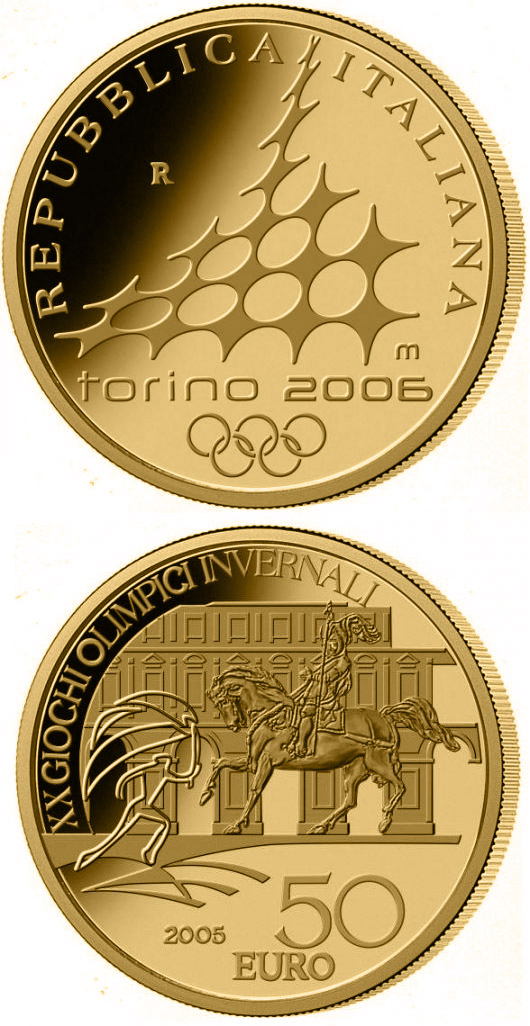Image of a coin 50 euro | Italy | XX. Olympic Winter Games 2006 in Turin - Equestrian statue Emanuele di Savoia | 2005