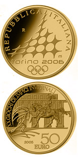 50 euro XX. Olympic Winter Games 2006 in Turin - Equestrian statue Emanuele di Savoia - 2005 - Series: Gold 50 euro coins - Italy