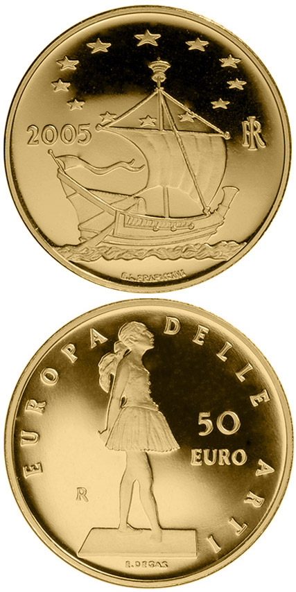 Image of 50 euro coin - Europe of the Arts - Edgar Degas - France | Italy 2005.  The Gold coin is of Proof quality.