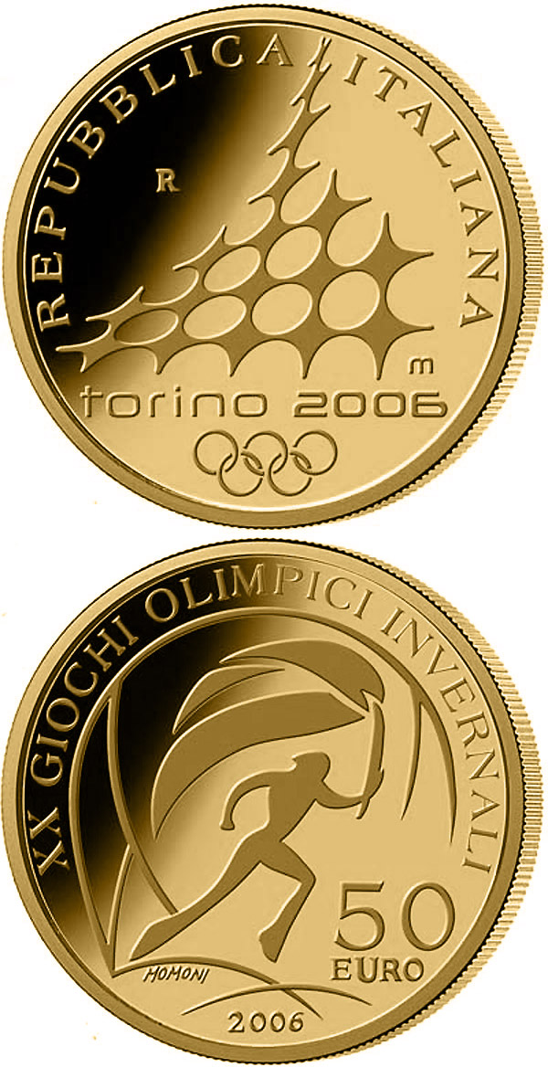 Image of 50 euro coin XX. Olympic Winter Games 2006 in Turin - Torch Relay | Italy 2006.  The Gold coin is of Proof quality.