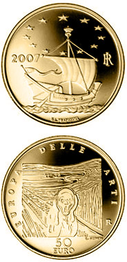 50 euro Europe of the Arts - Edvard Munch - Norway - 2007 - Series: Gold 50 euro coins - Italy