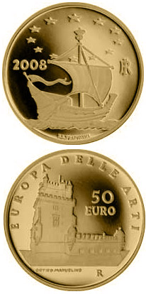 Image of 50 euro coin – Europe of the Arts - Torre de Belem - Portugal | Italy 2008.  The Gold coin is of Proof quality.