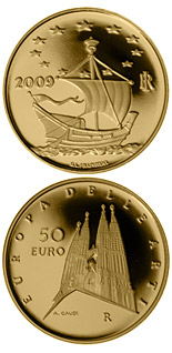 50 euro Europe of the Arts - Antoni Gaudi - Spain - 2009 - Series: Gold 50 euro coins - Italy
