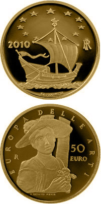 50 euro Europe of the Arts – Hungary - 2010 - Series: Gold 50 euro coins - Italy