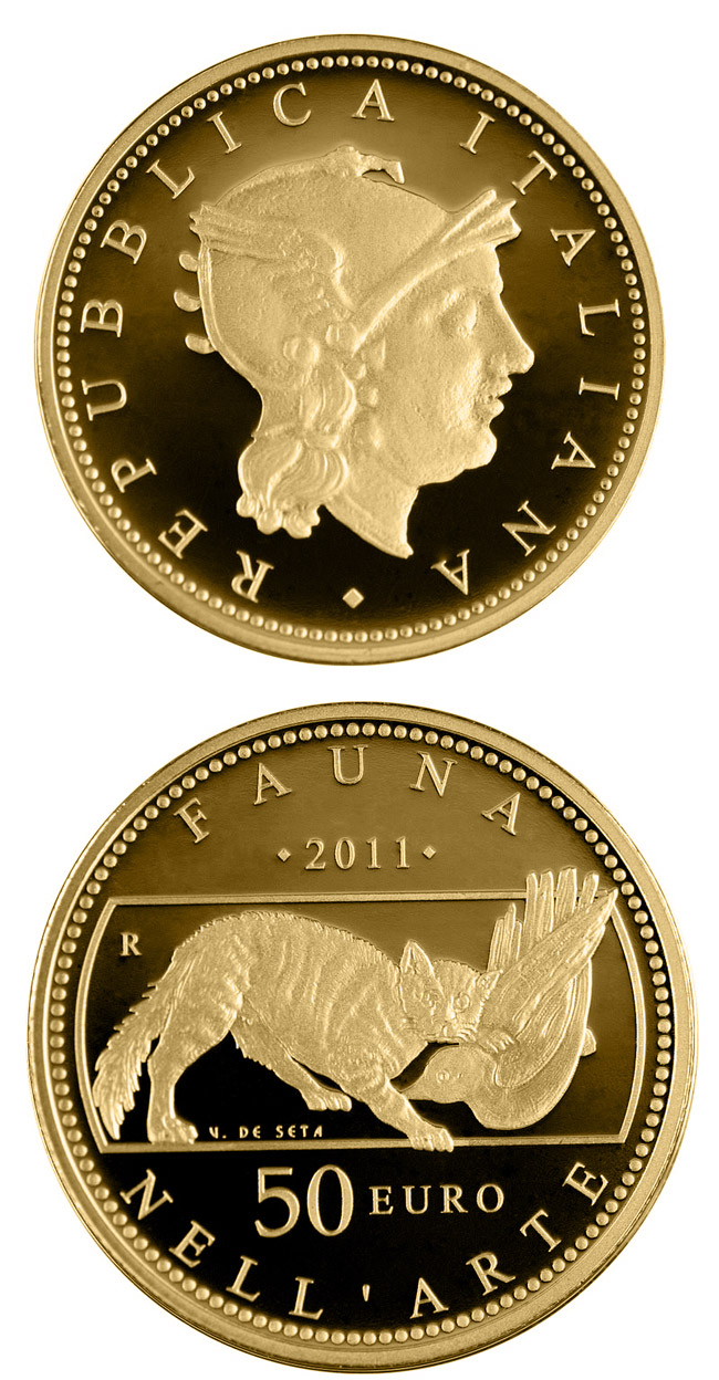 Image of 50 euro coin – Fauna in the Art | Italy 2011.  The Gold coin is of Proof quality.