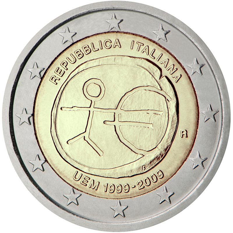 Image of 2 euro coin - 10th Anniversary of the Introduction of the Euro | Italy 2009