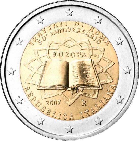 Image of 2 euro coin - 50th Anniversary of the Treaty of Rome | Italy 2007