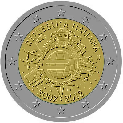 Image of 2 euro coin – Ten years of Euro  | Italy 2012