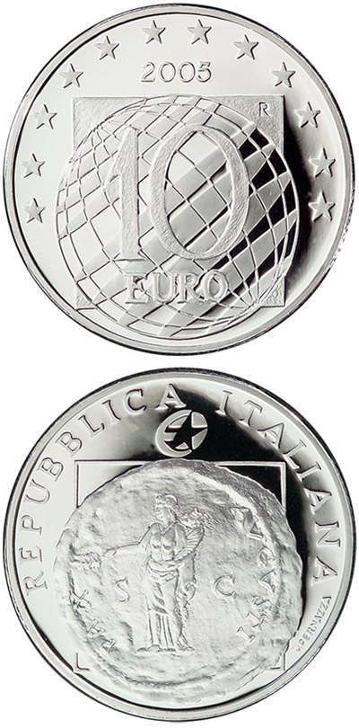 Image of 10 euro coin - 60 years Peace and Freedom  | Italy 2005