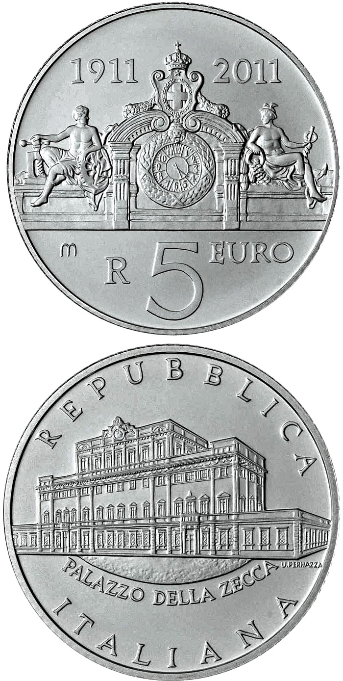 5 euro 100 years of the Mint Palace - 2011 - Series: Silver 5 euro coins - Italy