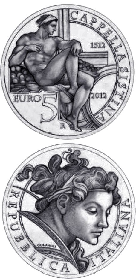Image of 5 euro coin – 500th Anniversary of the Unveiling of the Sistine Chapel Frescoes | Italy 2012