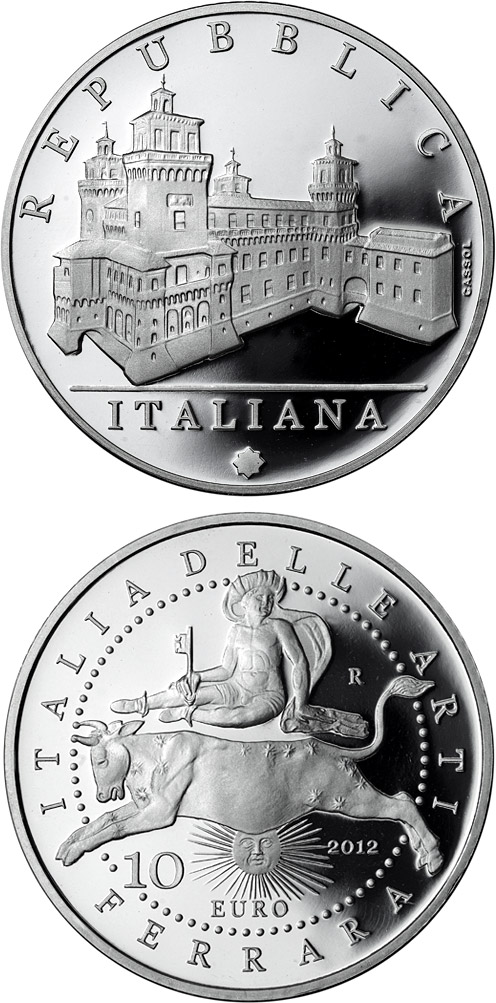 Image of 10 euro coin – Italy of Arts: The Castle Estense in Ferrara | Italy 2012