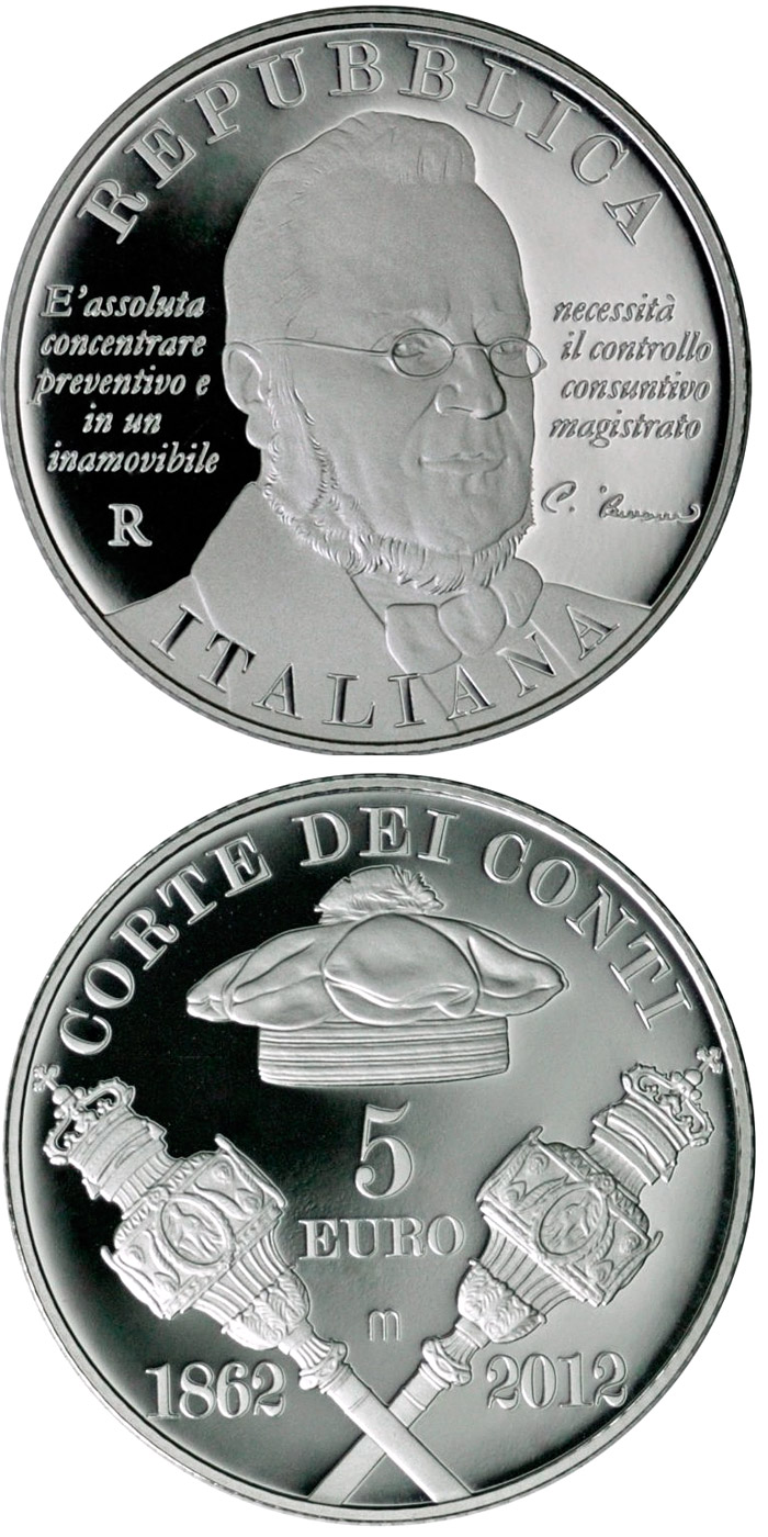 Image of 5 euro coin - 150th Anniversary of the Court of Audit | Italy 2012