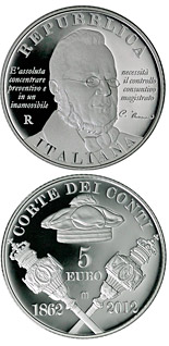 5 euro 150th Anniversary of the Court of Audit - 2012 - Series: Silver 5 euro coins - Italy