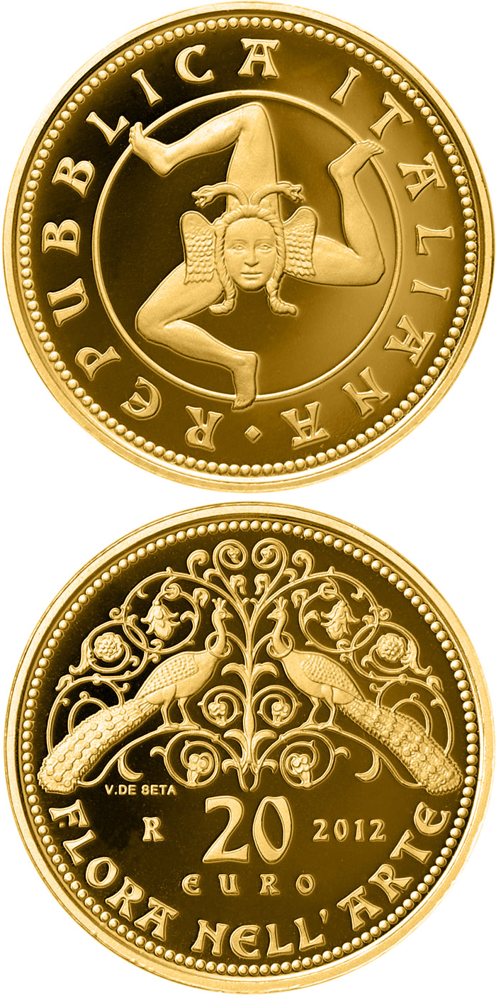 Image of 20 euro coin - Flora in the Art - Middel age | Italy 2012.  The Gold coin is of Proof quality.