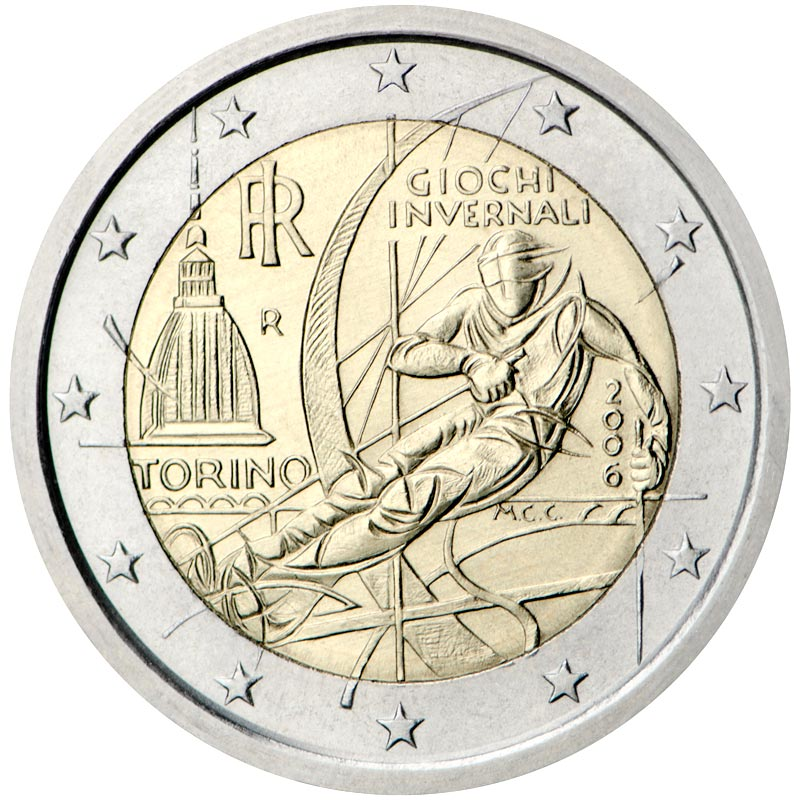 Image of 2 euro coin – Winter Olympics in Turin 2006 | Italy 2006