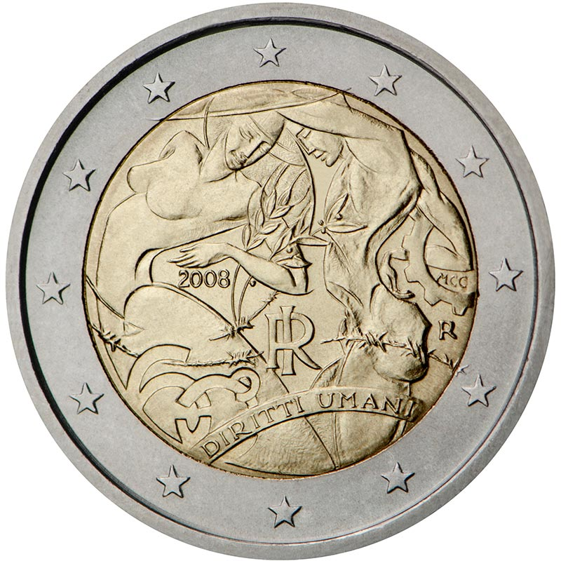 Image of 2 euro coin – 60th Anniversary of the Universal Declaration of Human Rights | Italy 2008