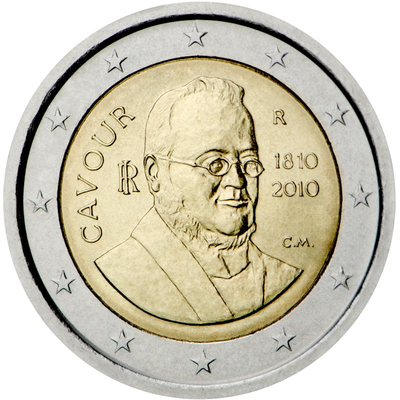 Image of 2 euro coin - 200th anniversary of birth of Camillo Benso | Italy 2010