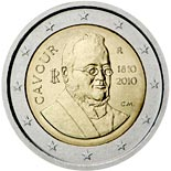 2 euro coin 200th anniversary of birth of Camillo Benso | Italy 2010