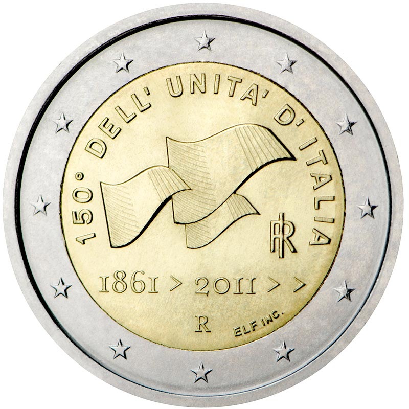 Image of 2 euro coin 150th anniversary of unification of Italy  | Italy 2011