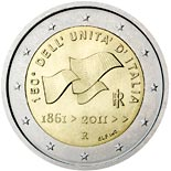 2 euro coin 150th anniversary of unification of Italy  | Italy 2011
