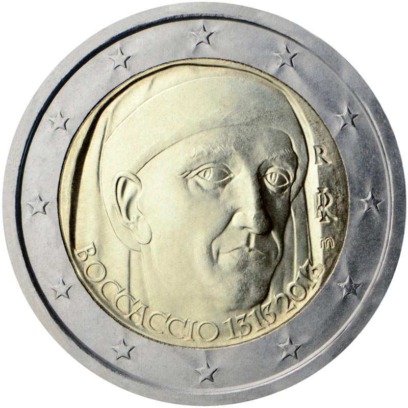 Image of 2 euro coin - 700th Anniversary of the Birth of Giovanni Boccaccio | Italy 2013