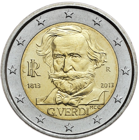 Image of 2 euro coin - 200th Anniversary of the Birth of Giuseppe Verdi | Italy 2013