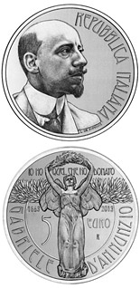 5 euro 150th Anniversary of the Birth of  Gabriele D'Annunzio - 2013 - Series: Silver 5 euro coins - Italy