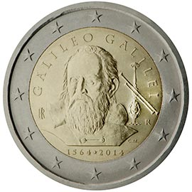 Image of 2 euro coin - 450th Anniversary of the birth of Galileo Galilei | Italy 2014