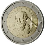2 euro coin 450th Anniversary of the birth of Galileo Galilei | Italy 2014