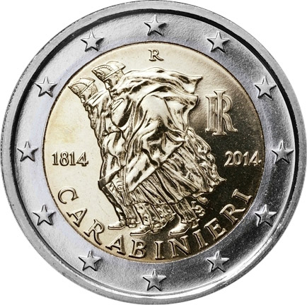 Image of 2 euro coin - 200th Anniversary of the Carabinieri | Italy 2014