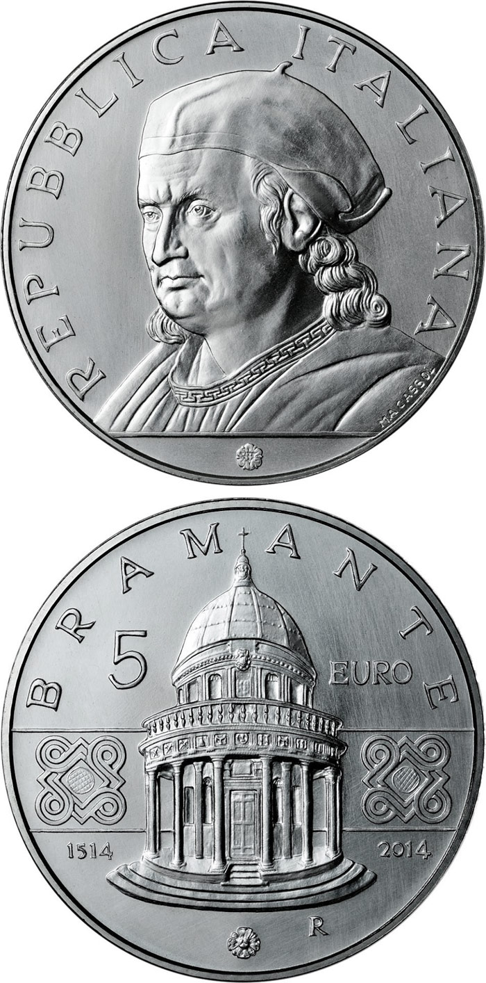 Image of 5 euro coin - 500th Anniversary of the Death of Donato Bramante | Italy 2014