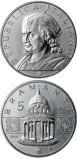 5 euro coin 500th Anniversary of the Death of Donato Bramante | Italy 2014