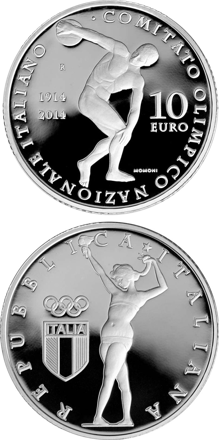 Image of a coin 10 euro | Italy | 100th Anniversary of the Foundation of the Italian National Olympic Committee | 2014