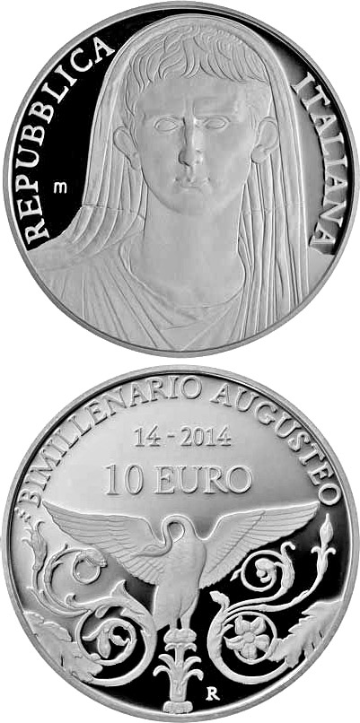 Image of 10 euro coin - 2000th Anniversary of the Roman Emperor Augustus | Italy 2014