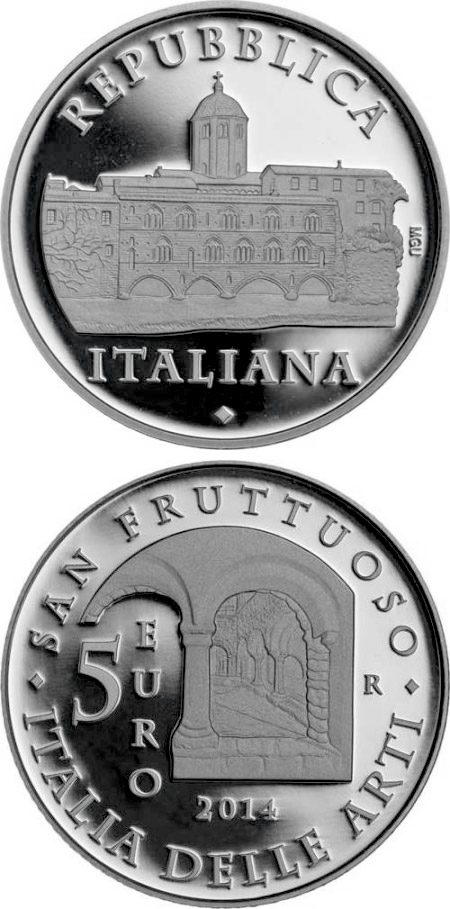 Image of 5 euro coin - Abbey of San Fruttuoso | Italy 2014