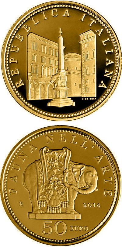 Image of Fauna in the Art: Baroque – 50 euro coin Italy 2014.  The Gold coin is of Proof quality.