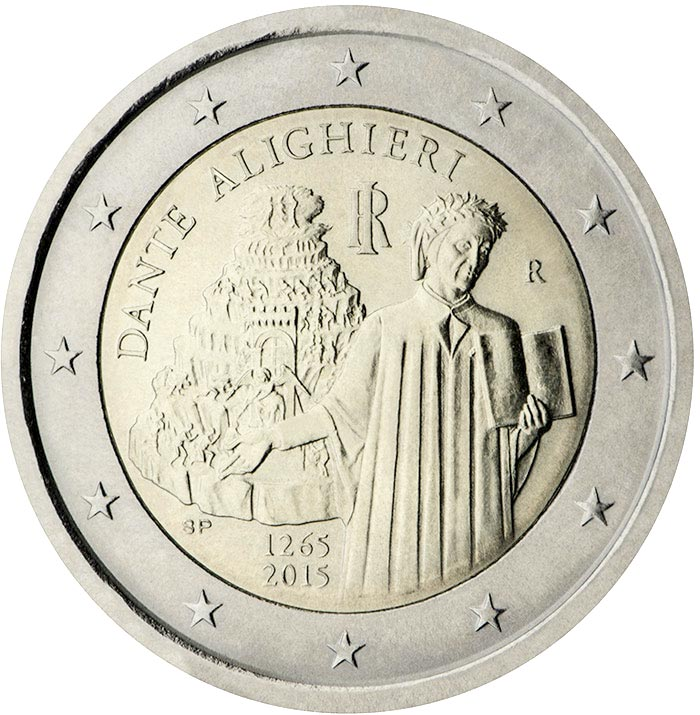 Image of 2 euro coin – 750th Anniversary of the Birth of Dante Alighieri | Italy 2015