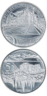 5 euro 100 Years of Earthquake in Avezzano - 2015 - Series: Silver 5 euro coins - Italy