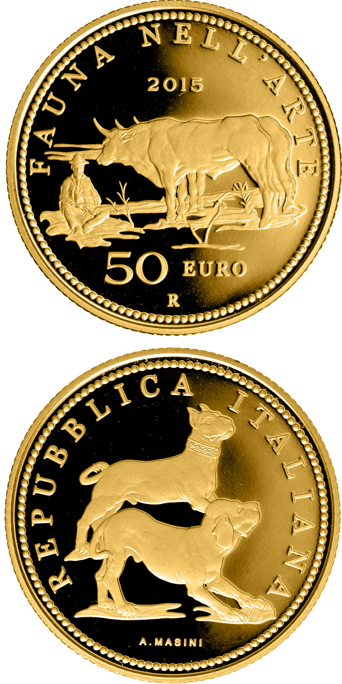 Image of 50 euro coin - Fauna in the Art: Neoclassicism  | Italy 2015.  The Gold coin is of Proof quality.