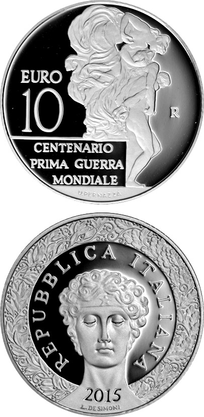 Image of a coin 10 euro | Italy | 100 years First World War | 2015