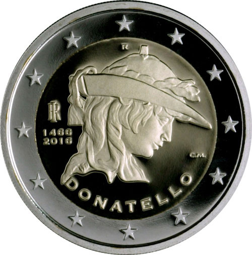 Image of 2 euro coin – 500th Anniversary of the Death of Donatello | Italy 2016