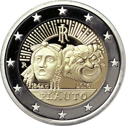 Image of 2 euro coin – 2200th Anniversary of the Death of Tito Maccio Plauto | Italy 2016