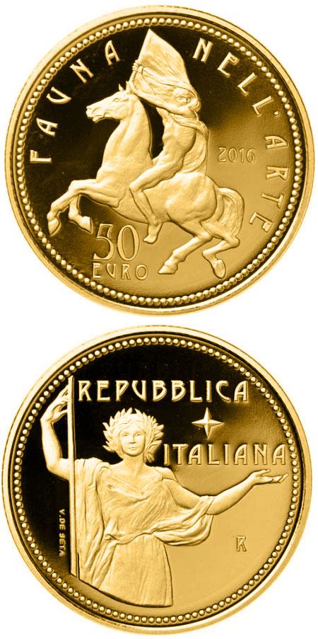 Image of 50 euro coin - Fauna in the Art: Contemporary Age | Italy 2016.  The Gold coin is of Proof quality.