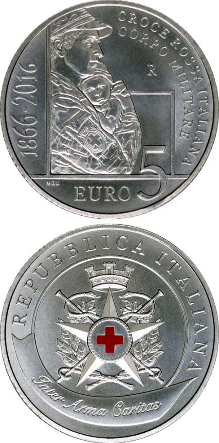 Image of 5 euro coin - 150 Years since the establishment of the Military Corps of the Italian Red Cross | Italy 2016