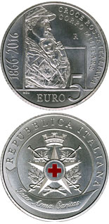 5 euro coin 150 Years since the establishment of the Military Corps of the Italian Red Cross | Italy 2016