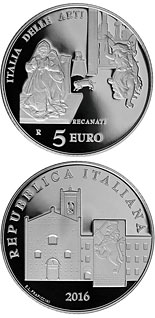 5 euro coin Italy of Arts: Recanati | Italy 2016