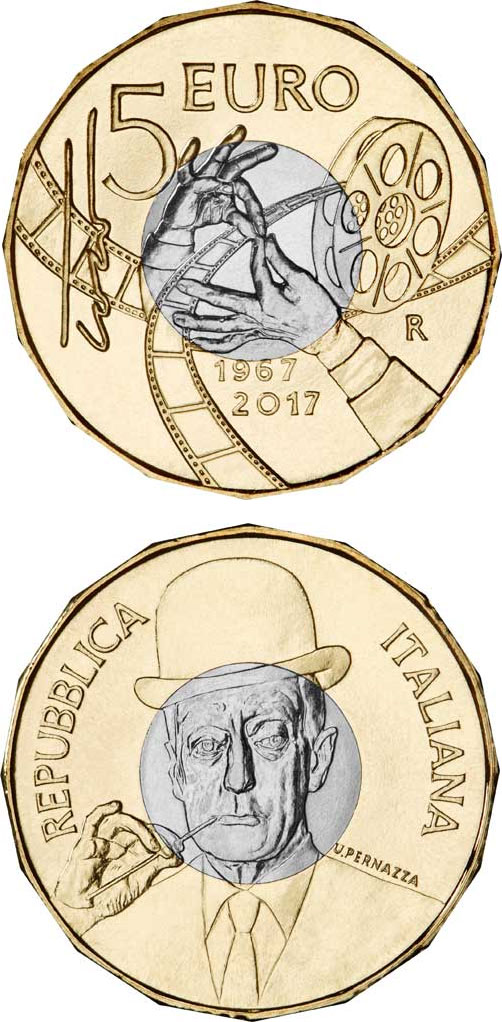 Image of 5 euro coin - Death of Toto 50 Years | Italy 2017.  The German silver (CuNiZn) coin is of BU quality.